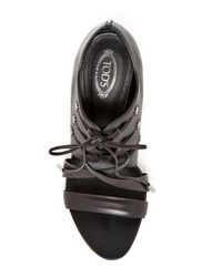 Tod's - Black Lace-up Open Toe Shootie - Lyst