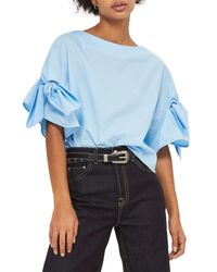 TOPSHOP - Blue Bow Sleeve Blouse - Lyst