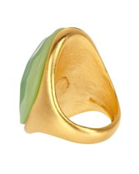 Kenneth Jay Lane | Multicolor Curved Oval Jade Ring | Lyst