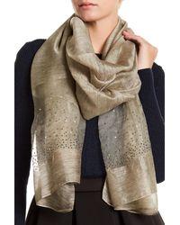 Saachi - White Star Gazer Silk & Wool Blend Scarf - Lyst