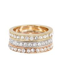 Ariella Collection - Metallic Crystal Stack Rings - Set Of 3 - Lyst