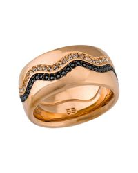 Swarovski - Metallic Demi Rose Gold Plated Black Pave Crystal Ring - Lyst
