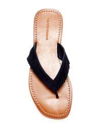 Frye - Blue Perry Fringe Thong Sandal - Lyst