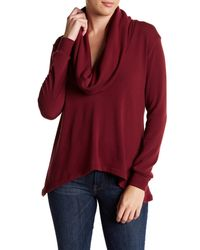 Go Couture - Red Cowl Neck Pullover Sweater - Lyst