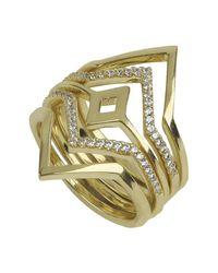 Noir Jewelry - Metallic Point Break Stone Ring - Set Of 5 - Lyst