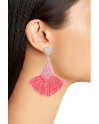 Panacea - Pink Drusy Fringe Earrings - Lyst