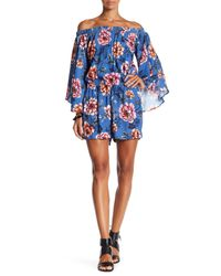 Fifteen Twenty | Blue Floral Off The Shoulder Romper | Lyst