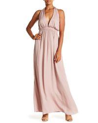 AAKAA - Pink Halter V-neck Smocked Maxi Dress - Lyst