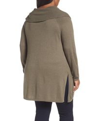 Sejour - Green Split Cowl Sweater (plus Size) - Lyst