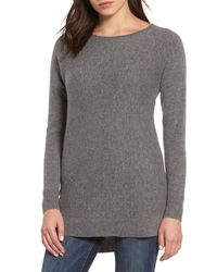 Halogen - Gray High/low Wool & Cashmere Tunic Sweater - Lyst