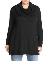 Caslon - Black Cowl Neck Tunic Sweater (plus Size) - Lyst