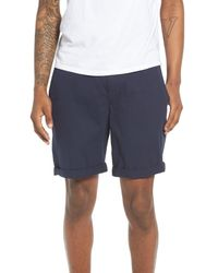 The Rail - Blue Washed Cuffed Shorts for Men - Lyst