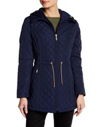 Laundry by Shelli Segal - Blue Quilted Hooded Jacket - Lyst