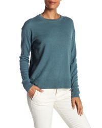 Vince - Blue Cashmere Boxy Long Sleeve Hi-lo Pullover Sweater - Lyst