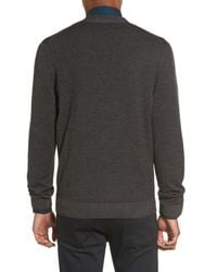 Calibrate - Gray V-neck Zip Cardigan for Men - Lyst