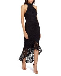 Missguided - Black Lace Fishtail Body-con Dress - Lyst