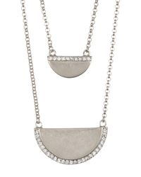 Cole Haan - Multicolor Double Layered Accented Half Moon Pendant Necklace - Lyst