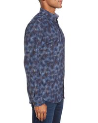 Ted Baker - Blue Modern Slim Fit Palm Print Sport Shirt for Men - Lyst