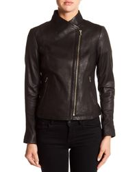 Cole Haan - Black Asymmetrical Front Zip Genuine Leather Jacket - Lyst