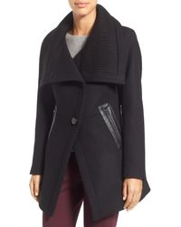 Trina Turk - Black 'maddi' Knit Collar Cutaway Wool Blend Coat - Lyst