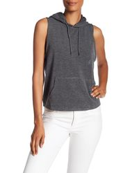 C&C California | Gray Raw Edge Sleeveless Hoodie | Lyst