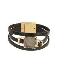Saachi - Black Square Faux Druzy Genuine Leather Bracelet - Lyst