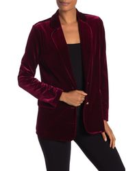 96454522d9044 Lyst - Joan Vass Velvet Notch Collar Blazer in Purple