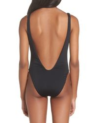 The Bikini Lab - Black High Leg One-piece Swimsuit - Lyst