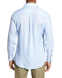 Peter Millar - Blue Whirlwind Regular Fit Linen Sport Shirt for Men - Lyst