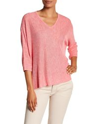 Eileen Fisher - Pink V-neck Boxy Knit Linen Shirt - Lyst