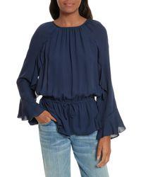 Joie - Blue Arthurine Bell Sleeve Silk Top - Lyst