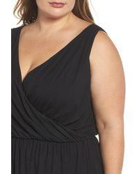 REBEL WILSON X ANGELS - Black Drape Surplice Jersey Midi Dress (plus Size) - Lyst