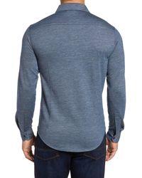 Bugatchi - Blue Regular Fit Pique Knit Sport Shirt for Men - Lyst