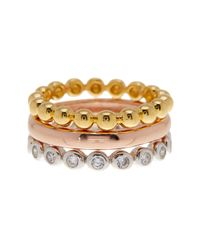 SAVVY CIE JEWELS - White Tricolor Stacking Rings - Set Of 3 - Lyst