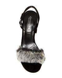 Charles David - Black Kandy Faux Fur Block Heel Pump - Lyst