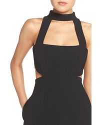JILL Jill Stuart | Black High Neck Cutout Crepe Dress | Lyst