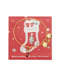ALEX AND ANI - Metallic Shine Bright Stocking Charm Expandable Wire Bracelet - Lyst