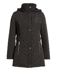 Calvin Klein - Black Hooded Quilted Jacket - Lyst