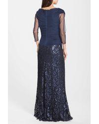 Tadashi Shoji - Blue Sequin Lace Gown - Lyst
