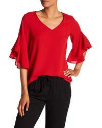 Pleione - Red Samba Ruffle Sleeve Blouse - Lyst