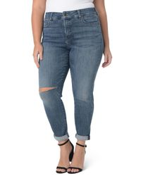 NYDJ - Blue Ripped Skinny Girlfriend Jeans - Lyst