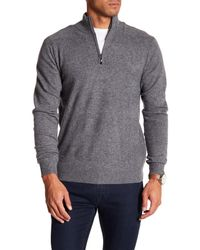 Qi - Gray Partial Zip Cashmere Sweater for Men - Lyst