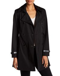 Via Spiga | Black Double Breasted Bonded Trench Coat | Lyst