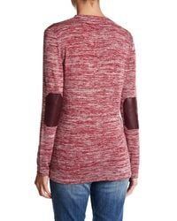 Kut From The Kloth - Red V-neck Faux Leather Elbow Patch Slub Sweater - Lyst