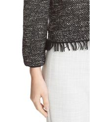 Theory - Black Vendla Tweed Fringe Sweater - Lyst