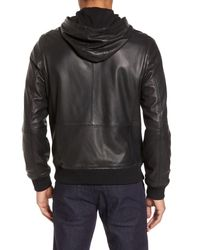 Calibrate - Black Hooded Leather Jacket for Men - Lyst