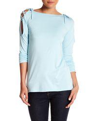 Go Couture - Blue Boatneck Open Shoulder Tee - Lyst