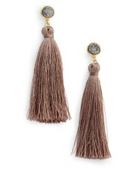Gorjana - Multicolor 18k Yellow Gold Plated Astoria Druzy Tassel Drop Earrings - Lyst