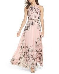 Eliza J - Pink Belted Chiffon Maxi Dress - Lyst