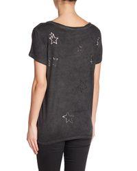 Pam & Gela - Black Short Sleeve Metallic Overdyed Tee - Lyst